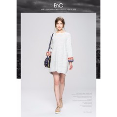 ENC秋冬灰色白色民族风袖口花纹流苏裙边针织连衣裙