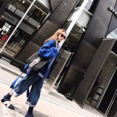 秋冬新款韩版宽松学生百搭气质宝蓝灯笼袖针织开衫毛衣短外套女