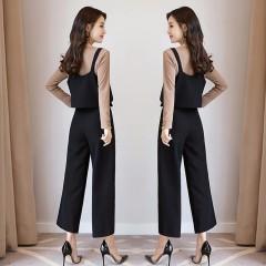 秋季名媛套装2017新款女装韩版修身长袖上衣女高腰休闲裤三件套裤