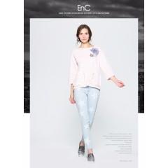 ENC女装秋季时尚甜美七分袖印花圆领细横条纹长袖T恤女