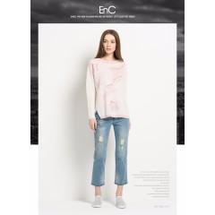 ENC品牌秋冬时尚休闲气质宽松印花长袖针织套头衫女