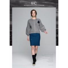ENC品牌正品秋冬灰色灯笼袖短款宽松针织衫毛衣外套女
