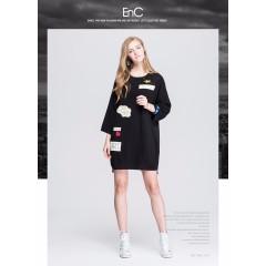 ENC女装秋季时尚休闲圆领宽松贴布七分袖印花连衣裙女